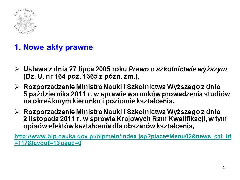 1. Nowe akty prawne Ustawa z dnia 27 lipca 2005 roku Prawo o szkolnictwie wyższym (Dz. U. nr 164 poz. 1365 z późn. zm.),