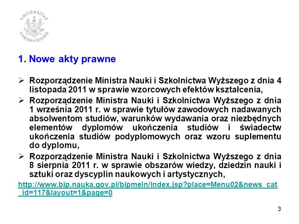 1. Nowe akty prawne Rozporządzenie Ministra Nauki i Szkolnictwa Wyższego z dnia 4 listopada 2011 w sprawie wzorcowych efektów kształcenia,