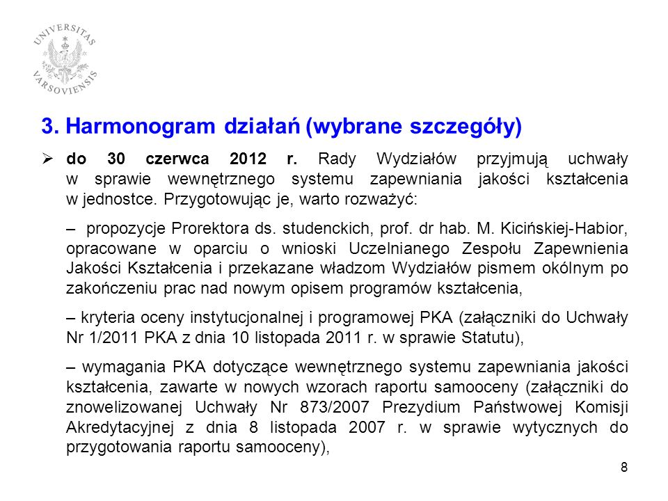 3. Harmonogram działań (wybrane szczegóły)