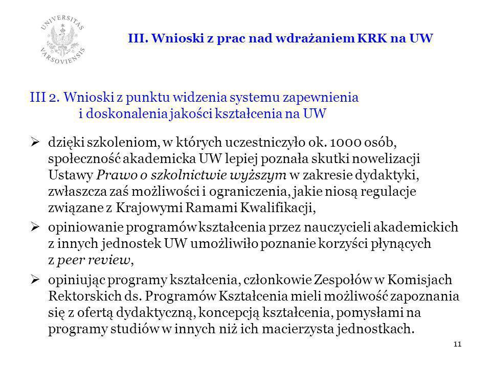 III. Wnioski z prac nad wdrażaniem KRK na UW
