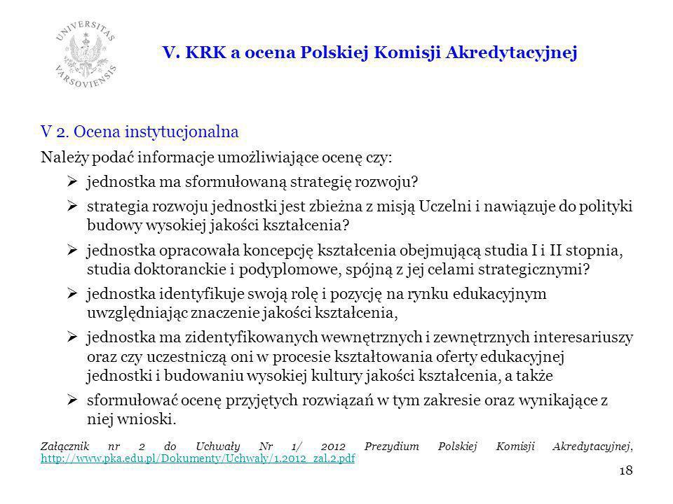 V. KRK a ocena Polskiej Komisji Akredytacyjnej