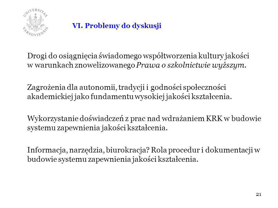 VI. Problemy do dyskusji