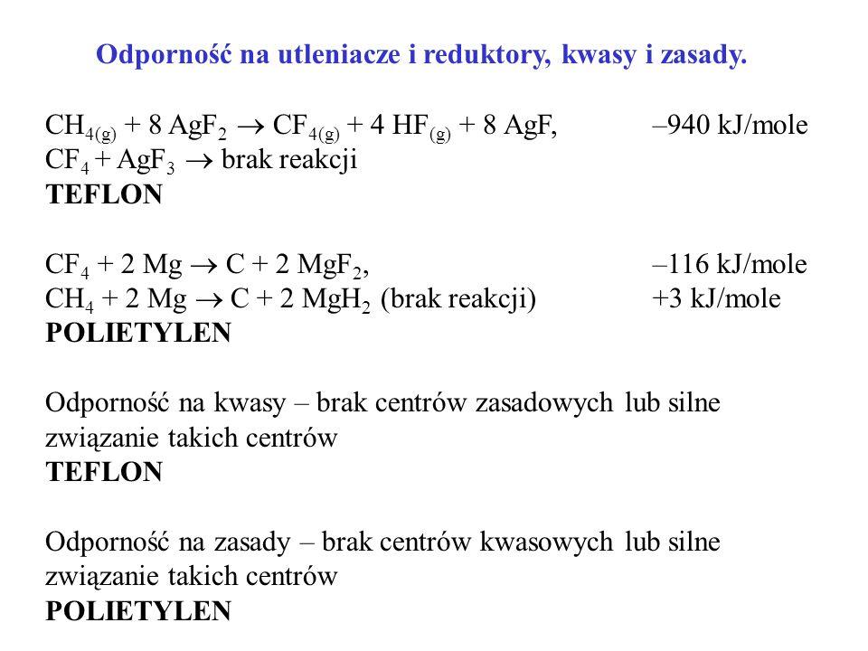 Odporność na utleniacze i reduktory, kwasy i zasady.