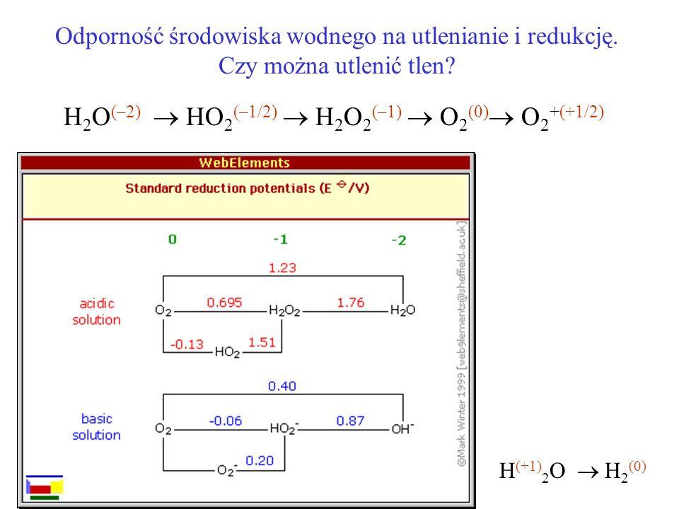 H2O(–2)  HO2(–1/2)  H2O2(–1)  O2(0) O2+(+1/2)