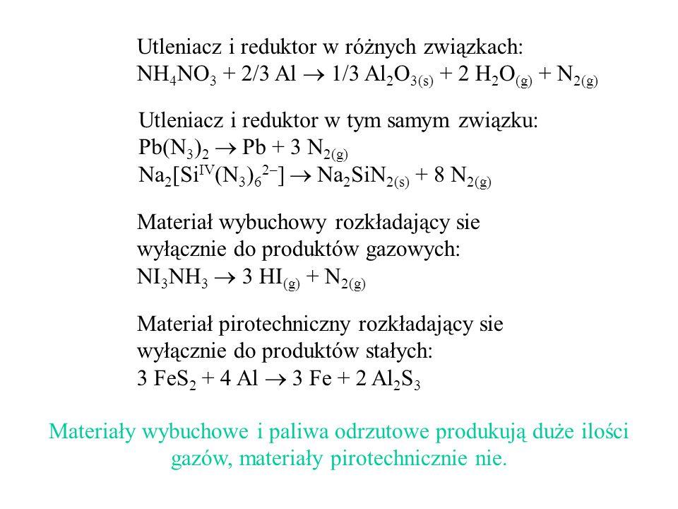 Utleniacz i reduktor w różnych związkach: