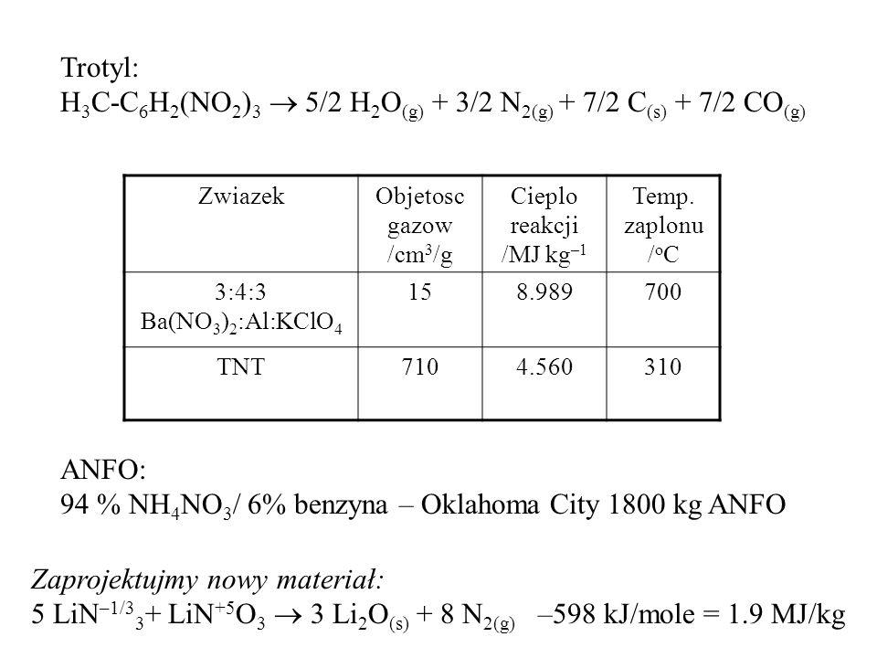 H3C-C6H2(NO2)3  5/2 H2O(g) + 3/2 N2(g) + 7/2 C(s) + 7/2 CO(g)