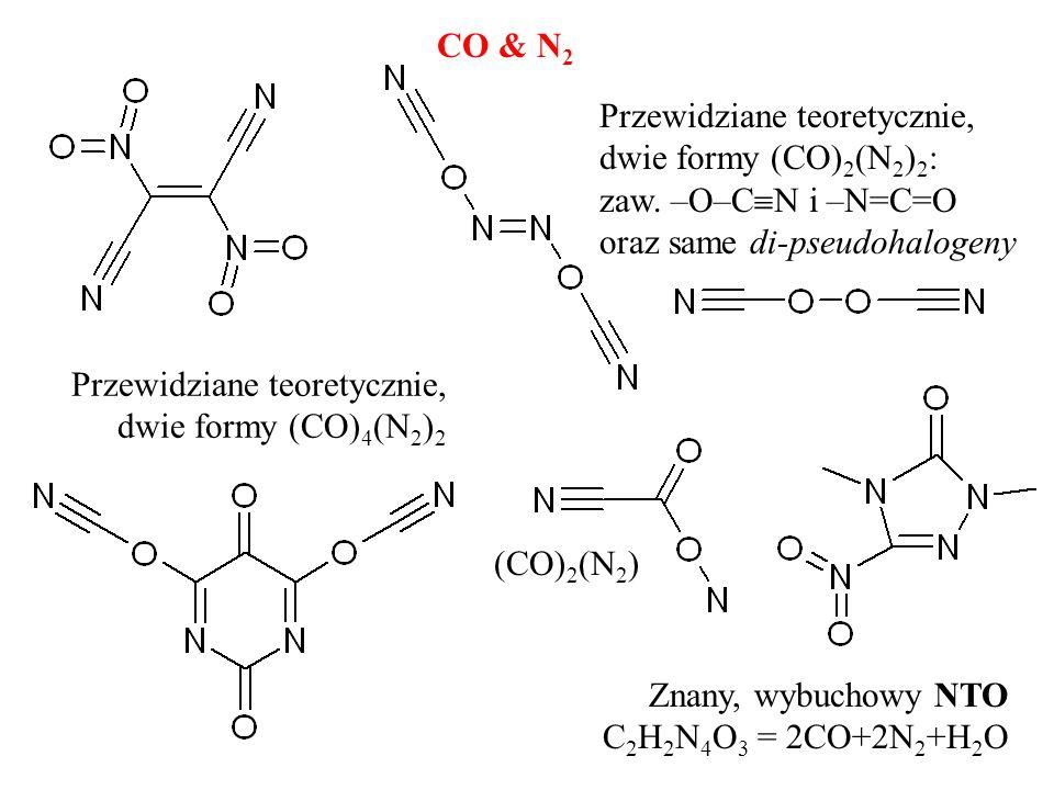 CO & N2 Przewidziane teoretycznie, dwie formy (CO)2(N2)2: zaw. –O–CN i –N=C=O oraz same di-pseudohalogeny.