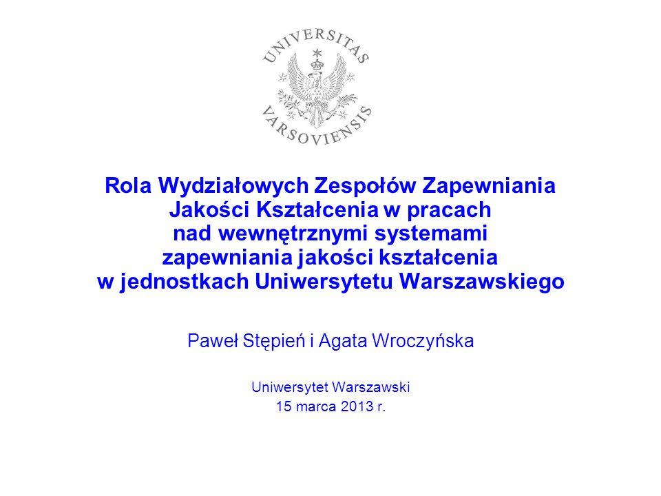Rola Wydziałowych Zespołów Zapewniania Jakości Kształcenia w pracach nad wewnętrznymi systemami zapewniania jakości kształcenia w jednostkach Uniwersytetu Warszawskiego
