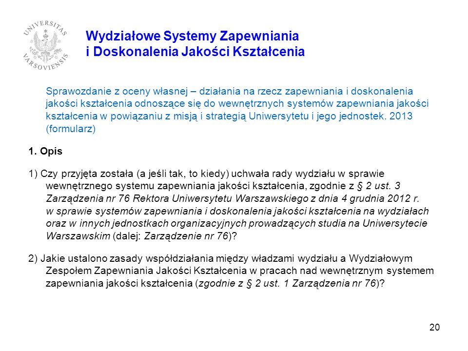 Wydziałowe Systemy Zapewniania i Doskonalenia Jakości Kształcenia