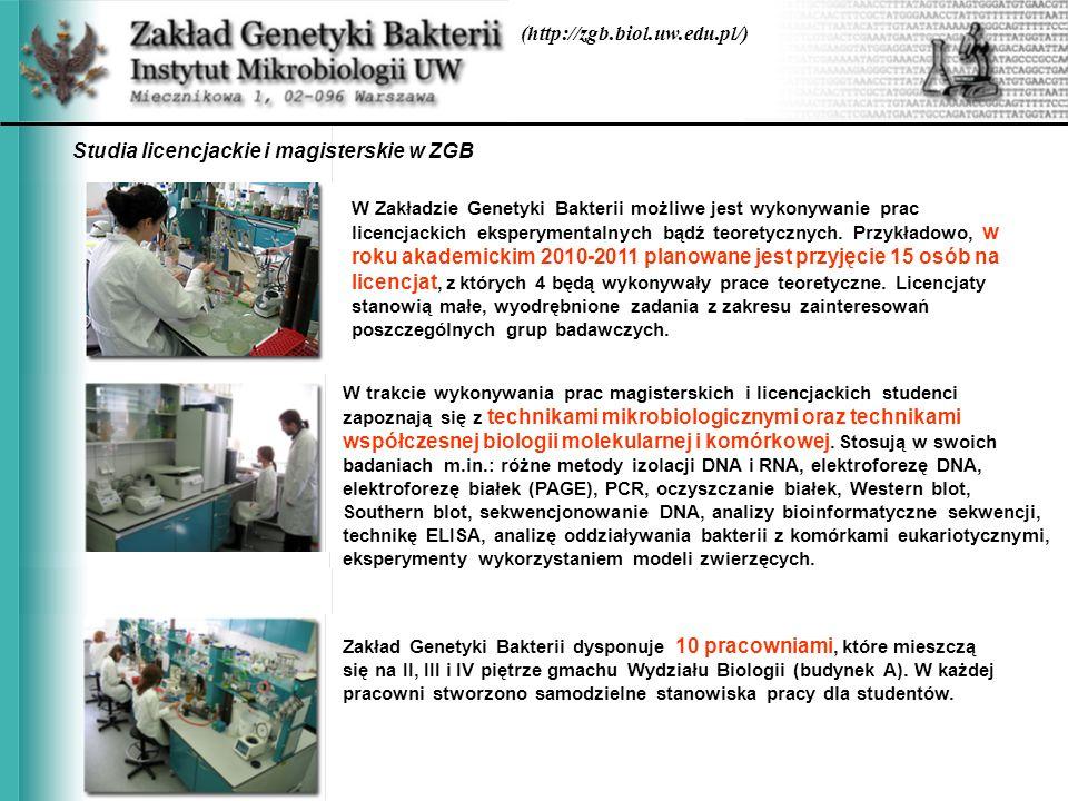 Studia licencjackie i magisterskie w ZGB (http://zgb.biol.uw.edu.pl/)