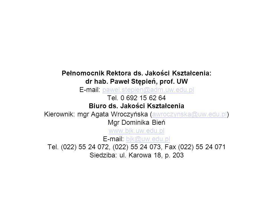Pełnomocnik Rektora ds. Jakości Kształcenia: