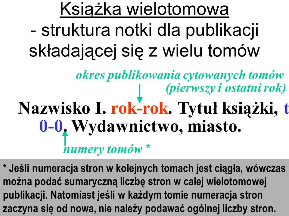 Nazwisko I. rok-rok. Tytuł książki, t. 0-0. Wydawnictwo, miasto.