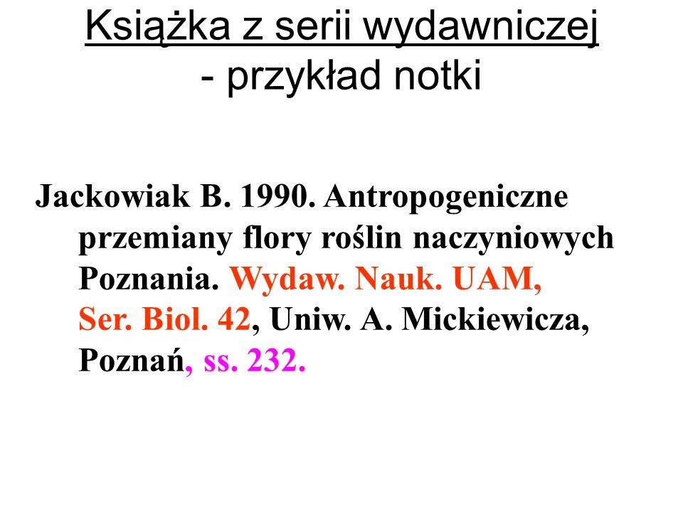 Książka z serii wydawniczej - przykład notki