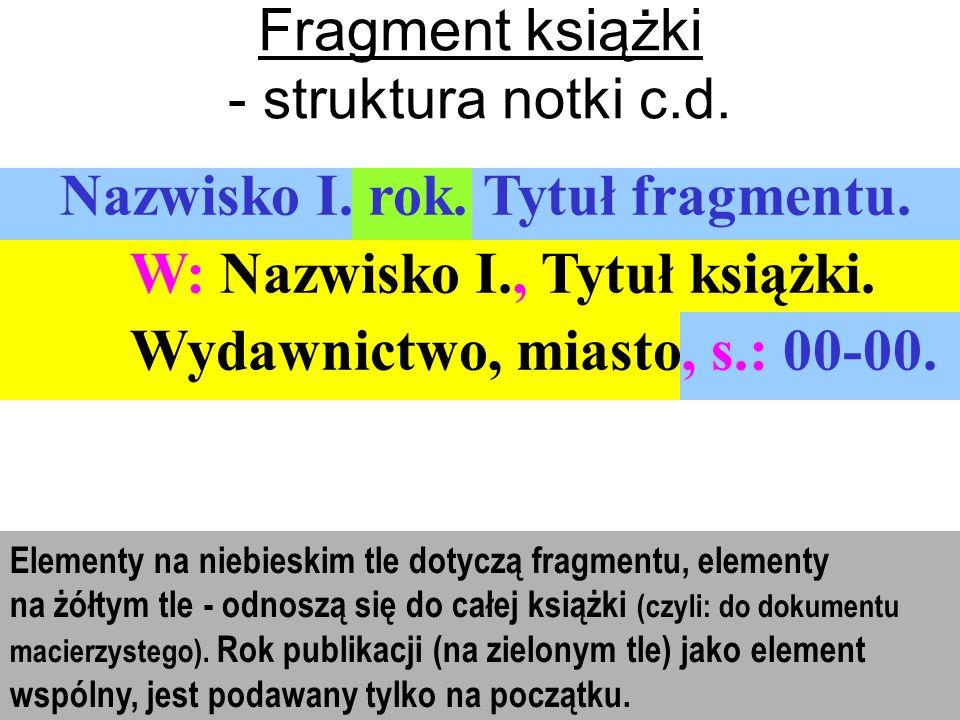 Fragment książki - struktura notki c.d.