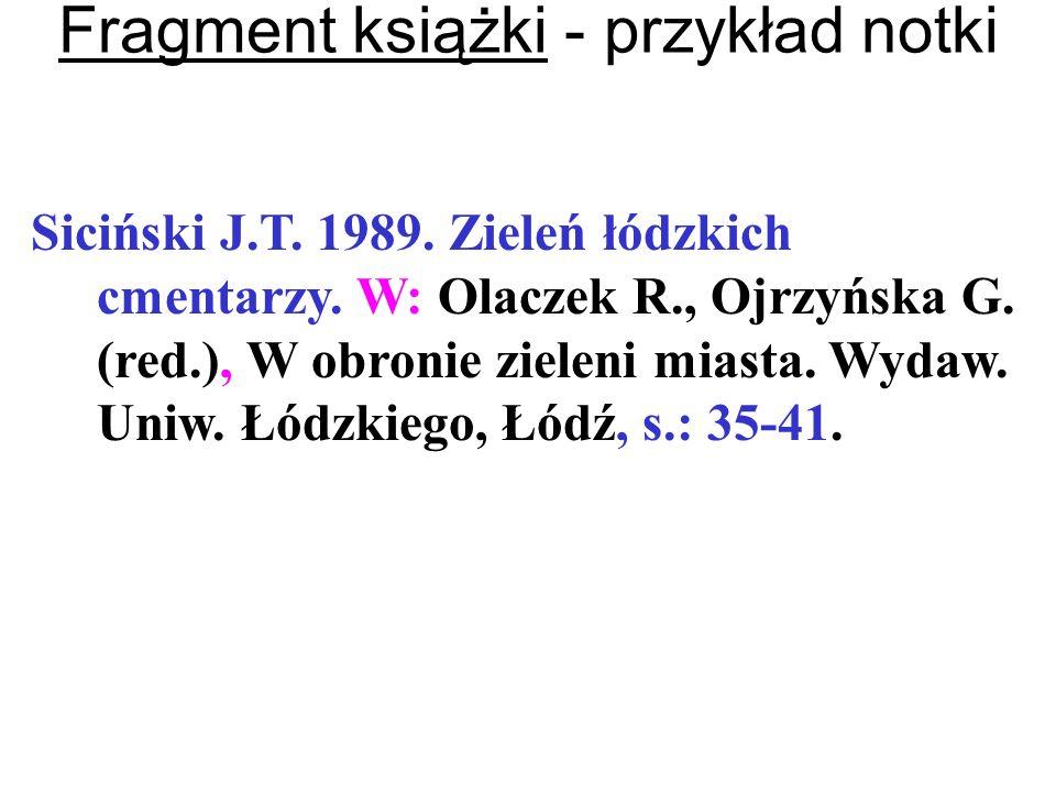 Fragment książki - przykład notki