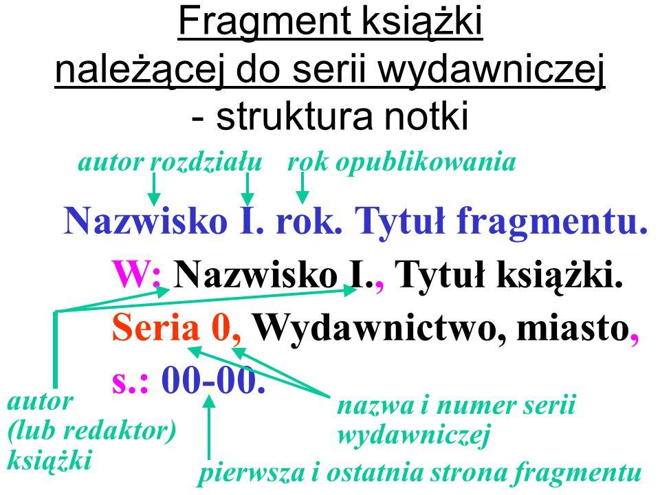 Fragment książki należącej do serii wydawniczej - struktura notki
