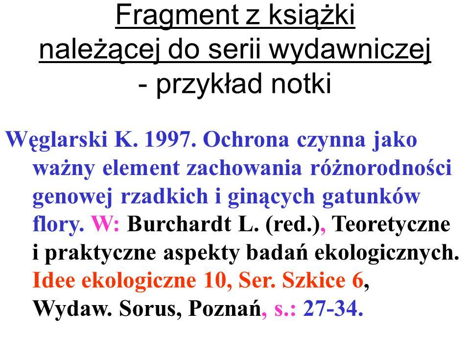 Fragment z książki należącej do serii wydawniczej - przykład notki
