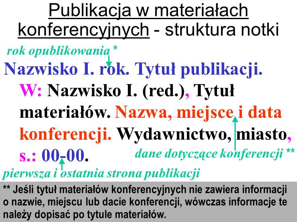 Publikacja w materiałach konferencyjnych - struktura notki