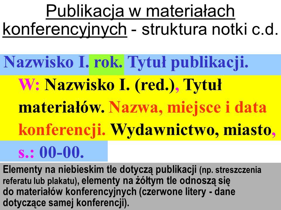Publikacja w materiałach konferencyjnych - struktura notki c.d.