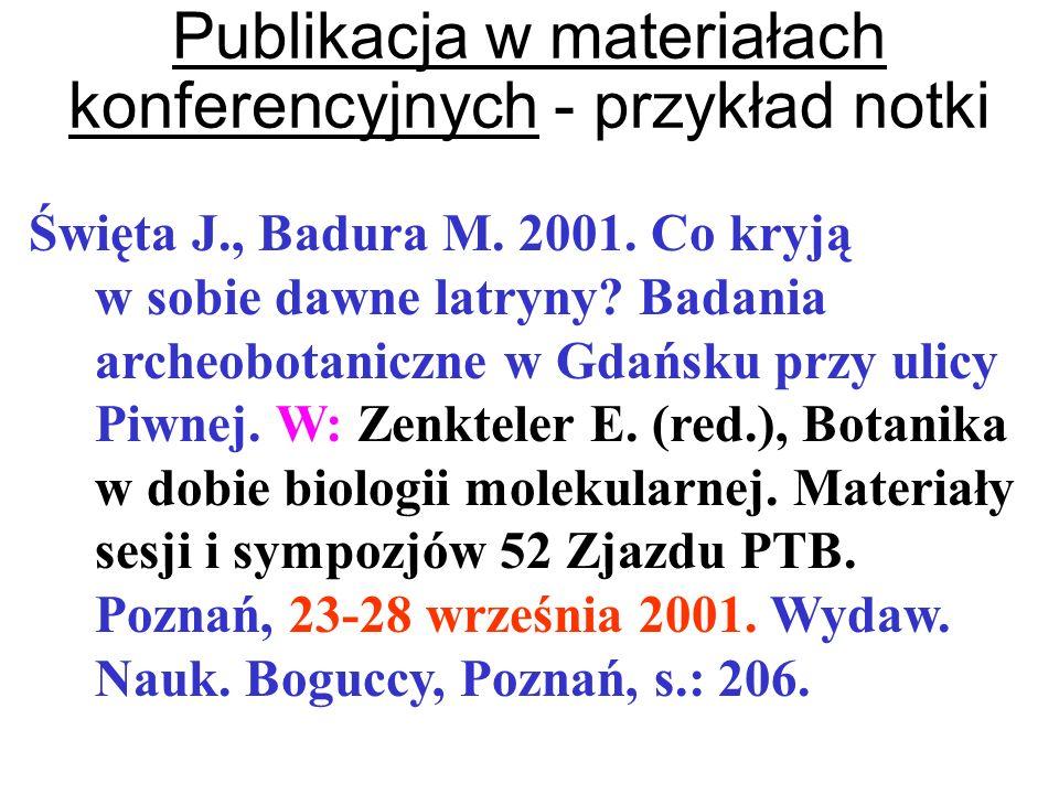 Publikacja w materiałach konferencyjnych - przykład notki