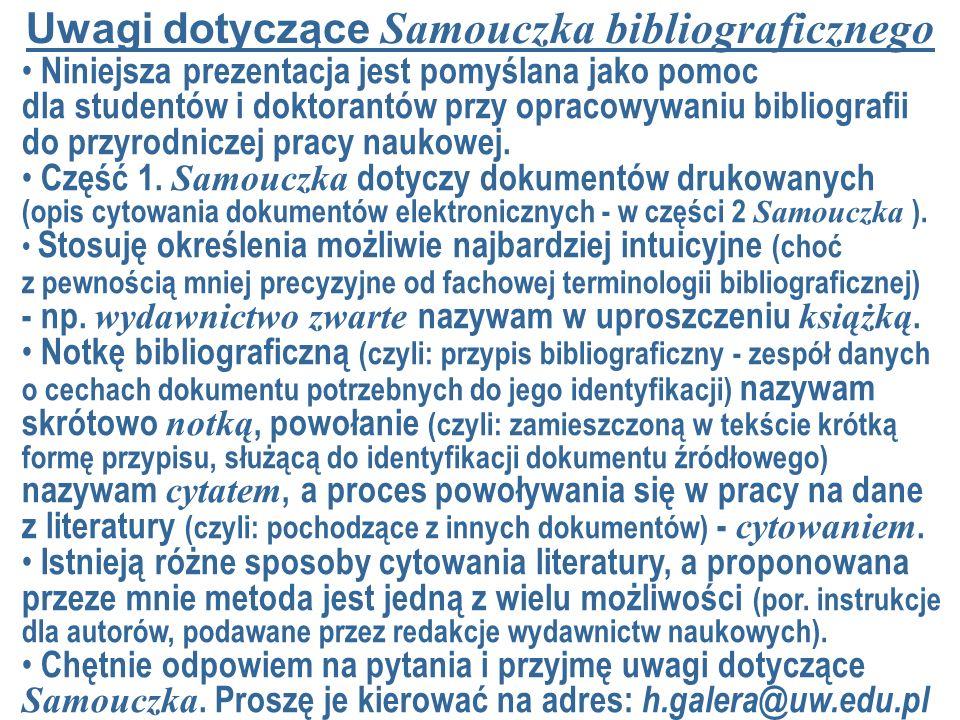 Uwagi dotyczące Samouczka bibliograficznego