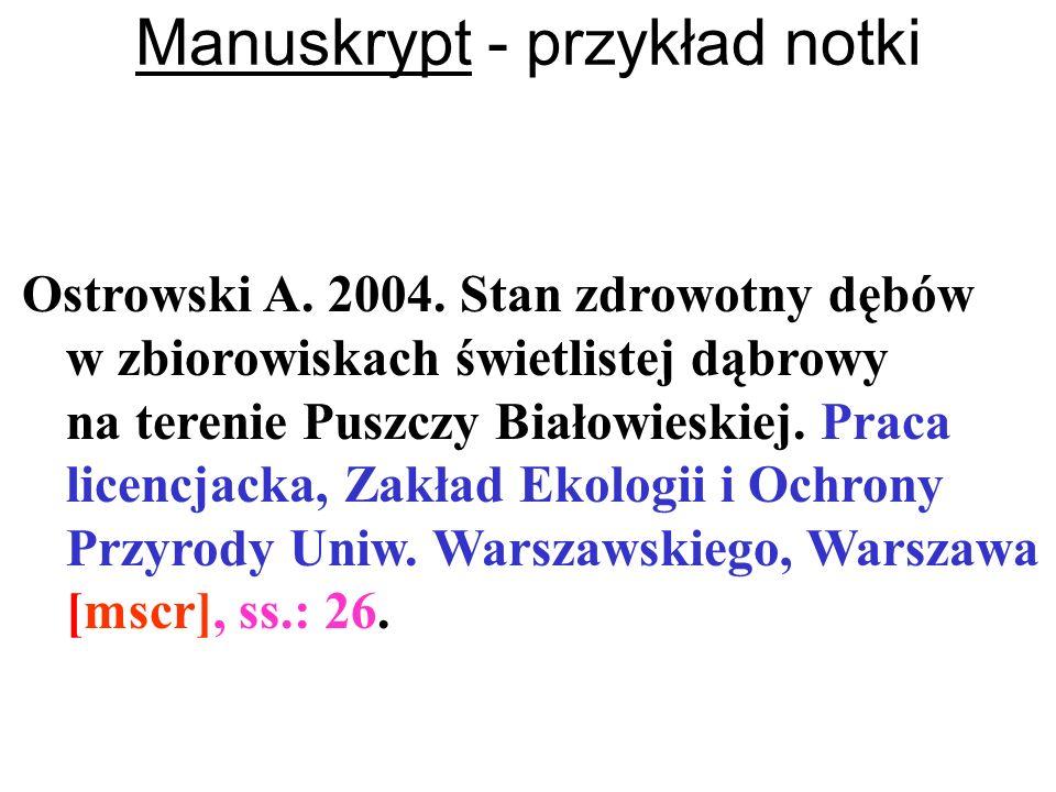 Manuskrypt - przykład notki