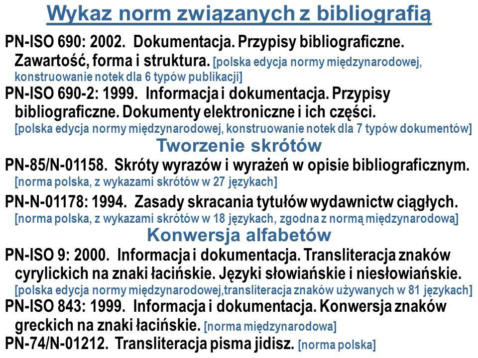 Wykaz norm związanych z bibliografią