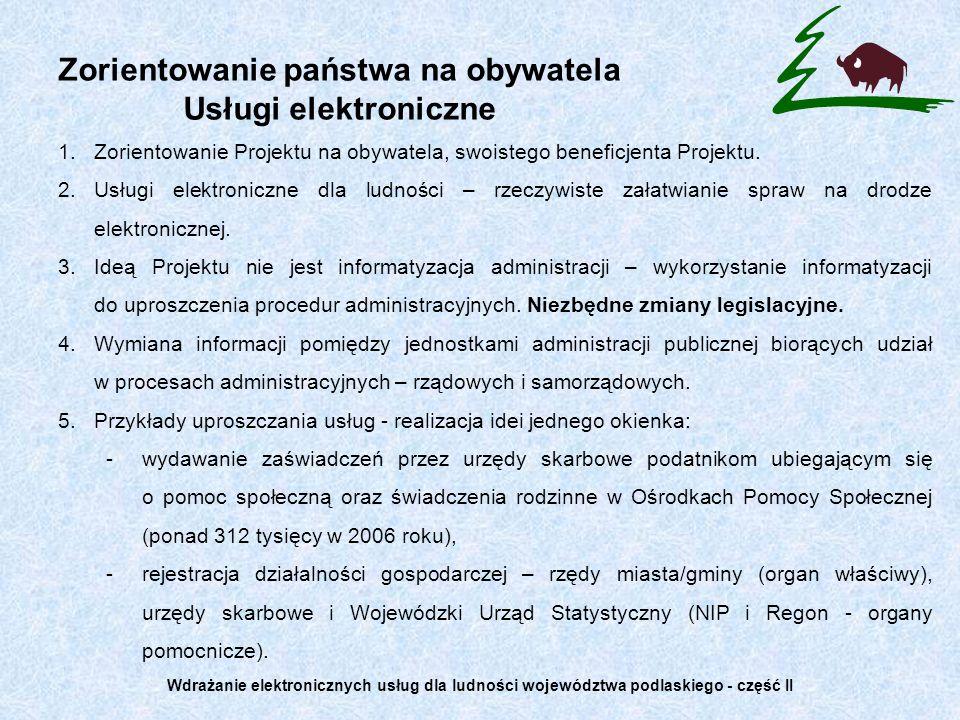 Zorientowanie państwa na obywatela Usługi elektroniczne