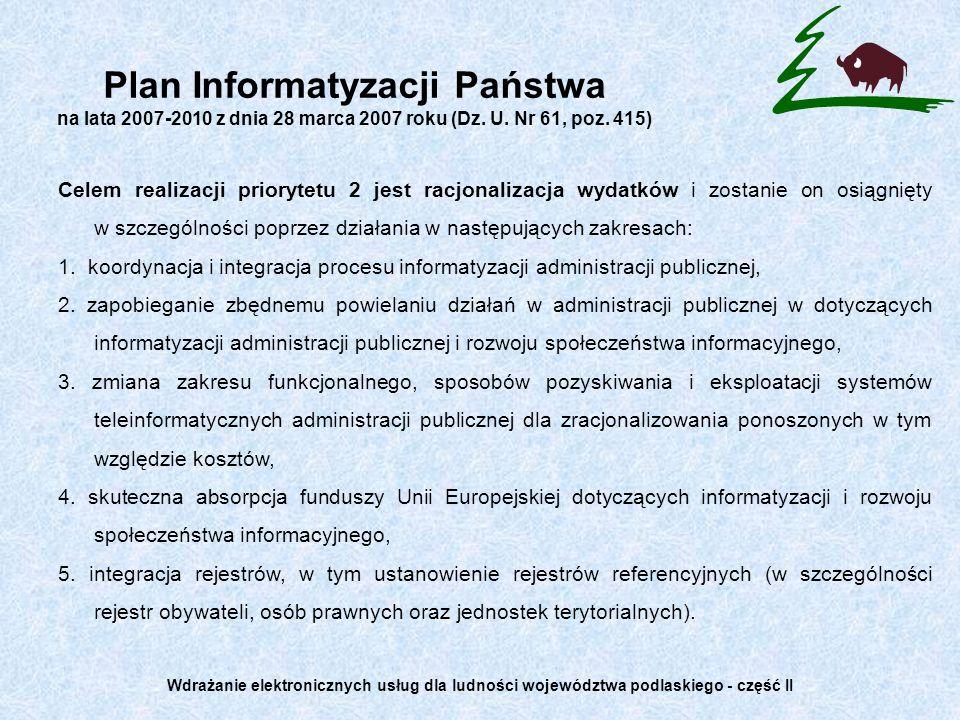 Plan Informatyzacji Państwa na lata 2007-2010 z dnia 28 marca 2007 roku (Dz. U. Nr 61, poz. 415)
