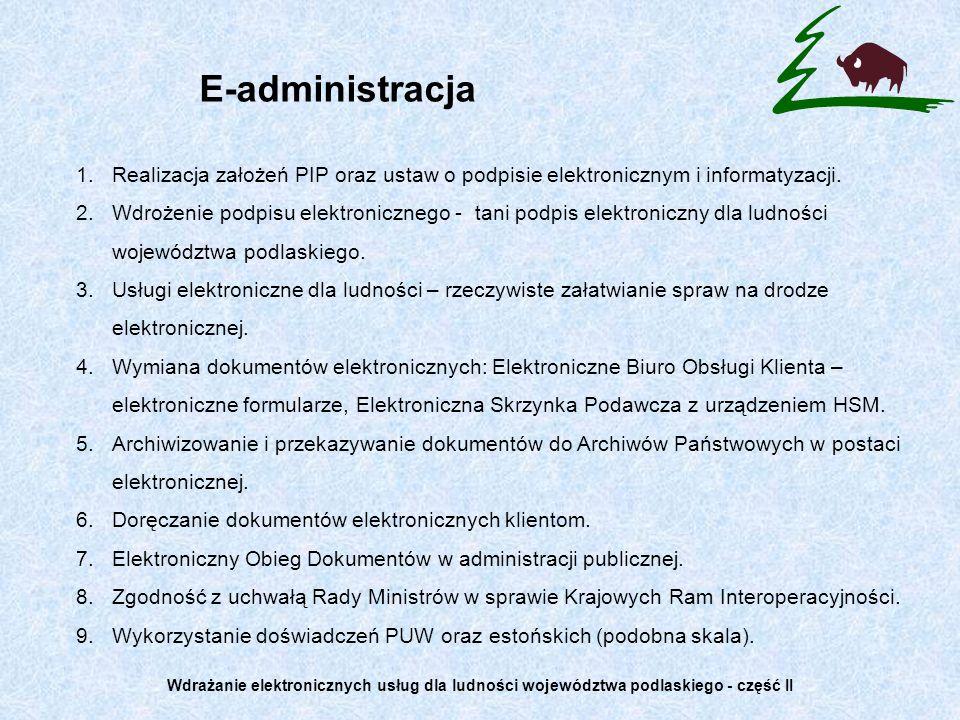 E-administracja Realizacja założeń PIP oraz ustaw o podpisie elektronicznym i informatyzacji.
