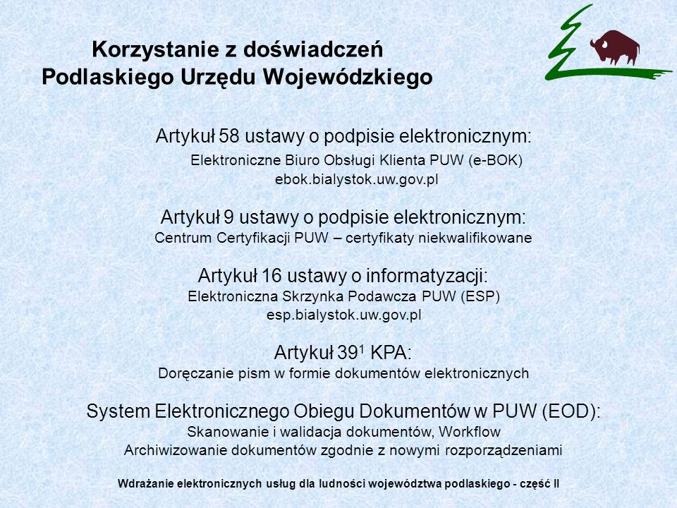 Korzystanie z doświadczeń Podlaskiego Urzędu Wojewódzkiego