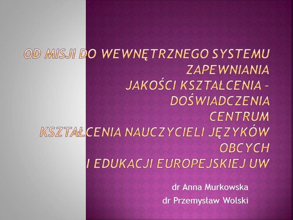 dr Anna Murkowska dr Przemysław Wolski