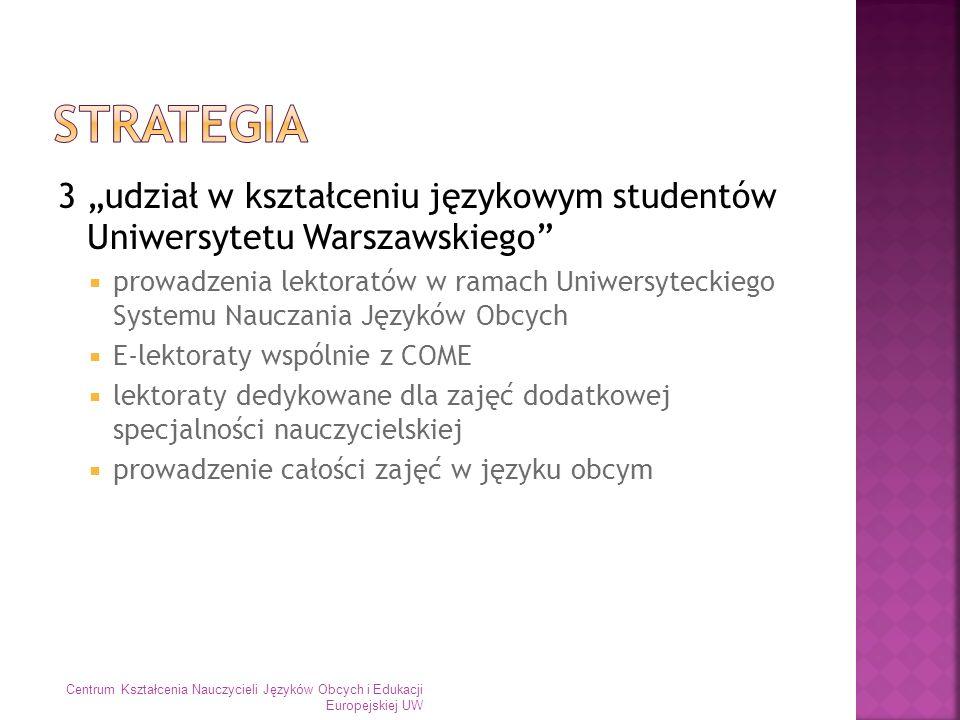"""Strategia 3 """"udział w kształceniu językowym studentów Uniwersytetu Warszawskiego"""