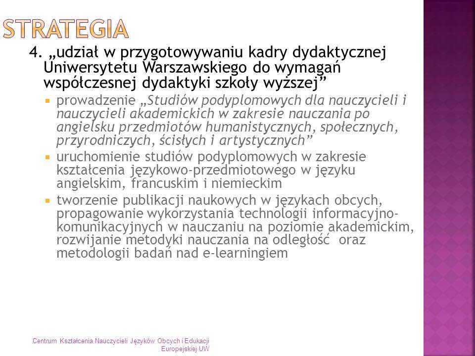 """Strategia 4. """"udział w przygotowywaniu kadry dydaktycznej Uniwersytetu Warszawskiego do wymagań współczesnej dydaktyki szkoły wyższej"""