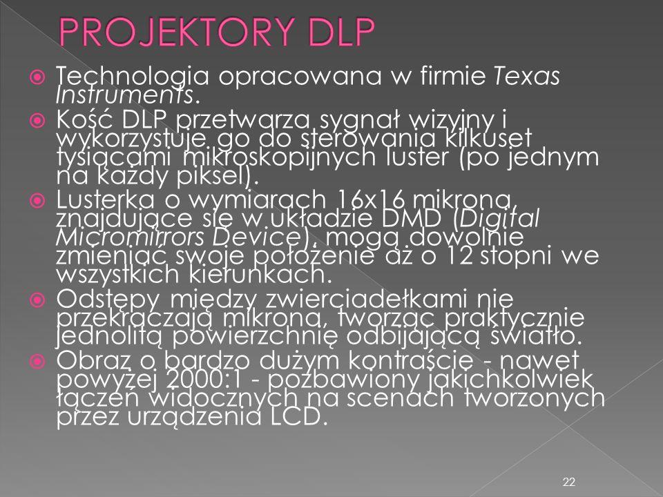 PROJEKTORY DLP Technologia opracowana w firmie Texas Instruments.