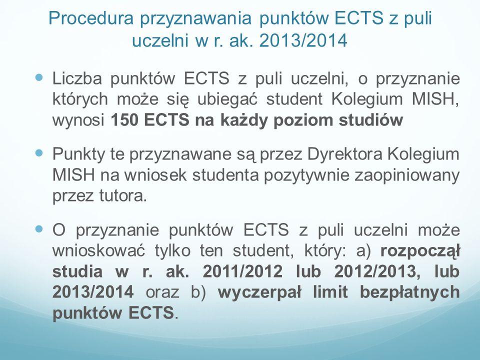 Procedura przyznawania punktów ECTS z puli uczelni w r. ak. 2013/2014