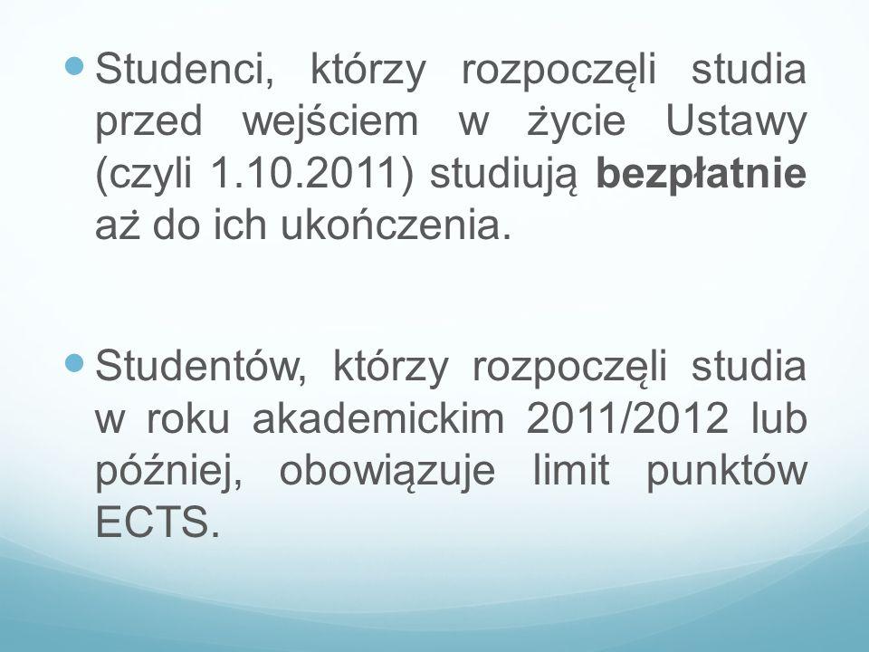 Studenci, którzy rozpoczęli studia przed wejściem w życie Ustawy (czyli 1.10.2011) studiują bezpłatnie aż do ich ukończenia.