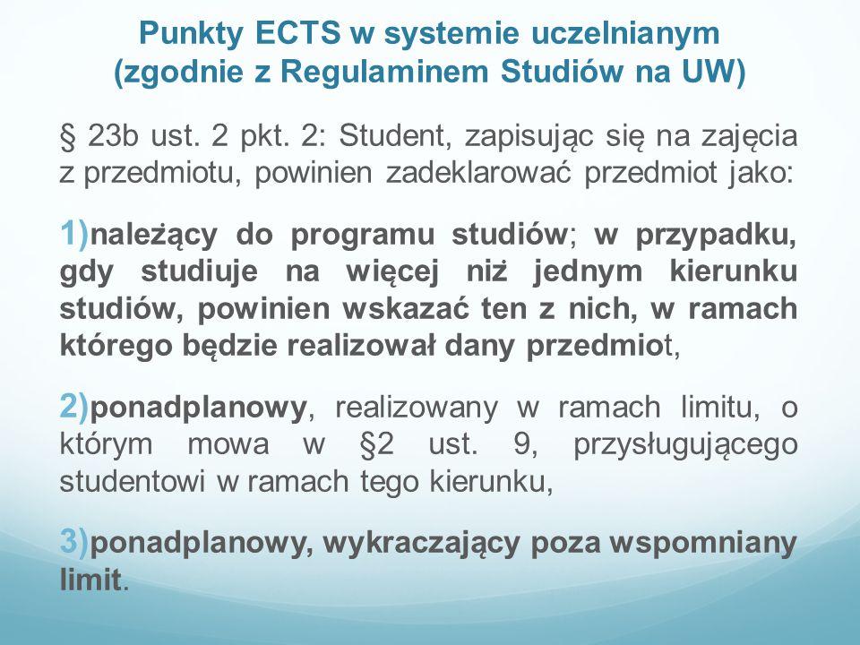 Punkty ECTS w systemie uczelnianym (zgodnie z Regulaminem Studiów na UW)