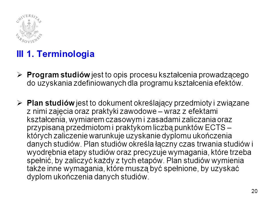 III 1. Terminologia Program studiów jest to opis procesu kształcenia prowadzącego do uzyskania zdefiniowanych dla programu kształcenia efektów.