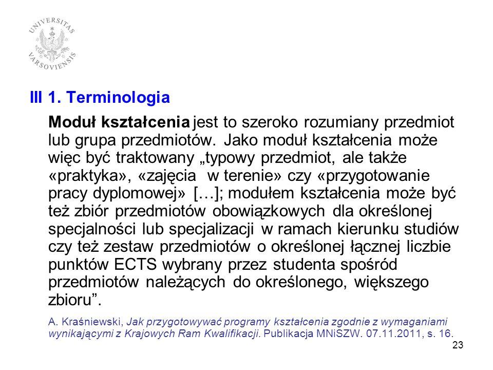 III 1. Terminologia
