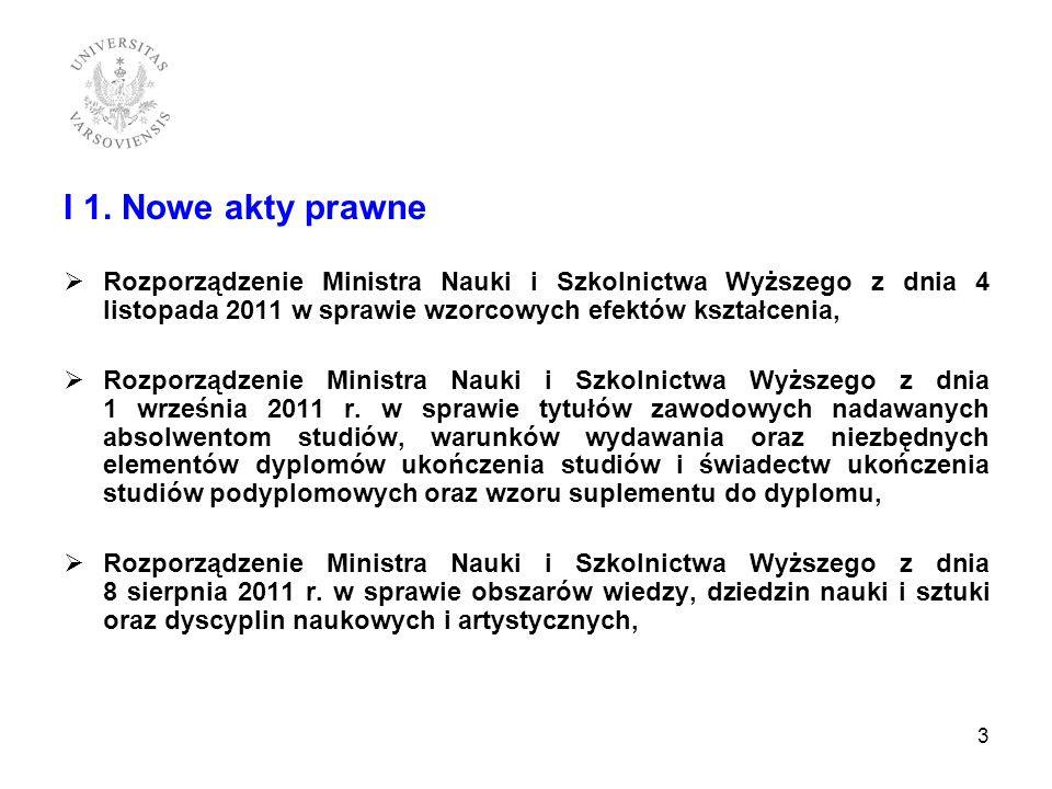 I 1. Nowe akty prawneRozporządzenie Ministra Nauki i Szkolnictwa Wyższego z dnia 4 listopada 2011 w sprawie wzorcowych efektów kształcenia,
