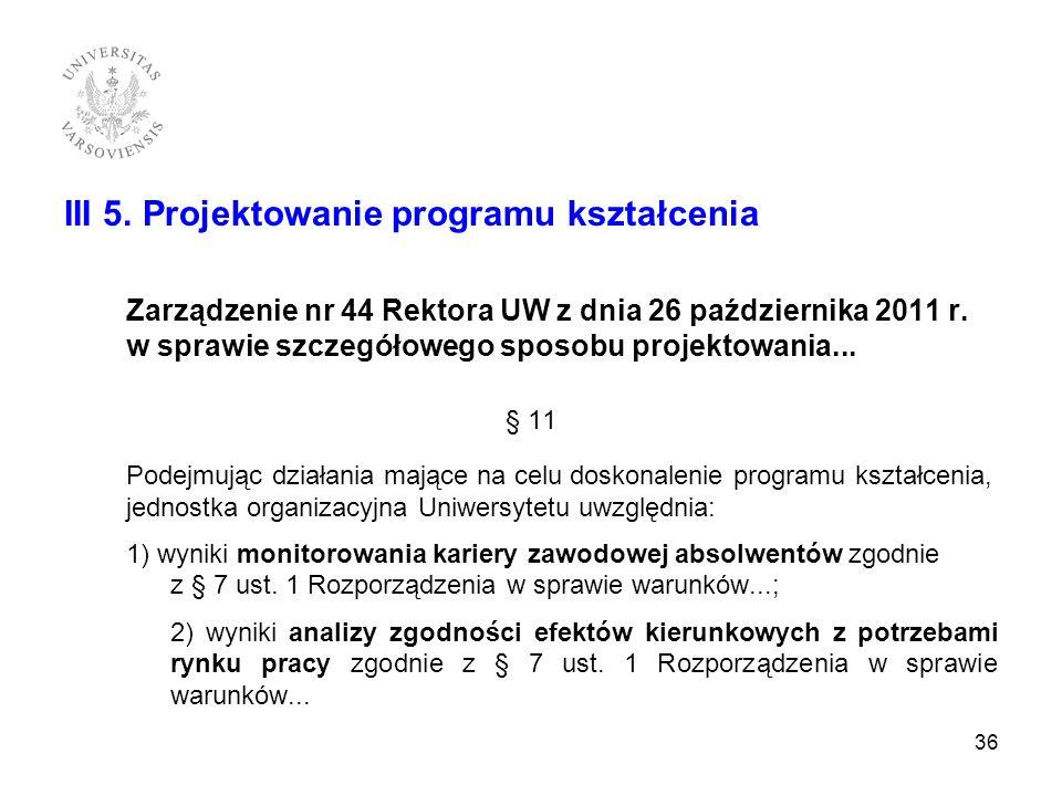 III 5. Projektowanie programu kształcenia