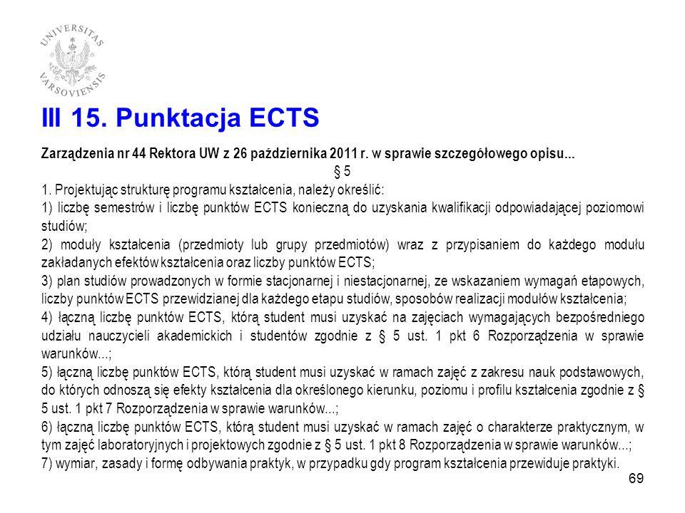 III 15. Punktacja ECTS Zarządzenia nr 44 Rektora UW z 26 października 2011 r. w sprawie szczegółowego opisu...