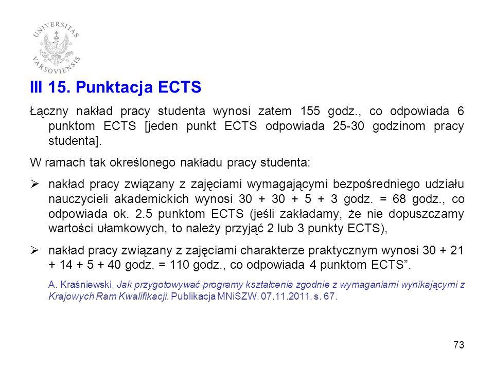 III 15. Punktacja ECTS