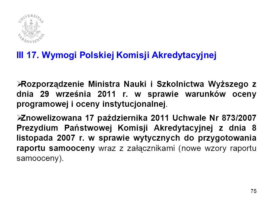 III 17. Wymogi Polskiej Komisji Akredytacyjnej