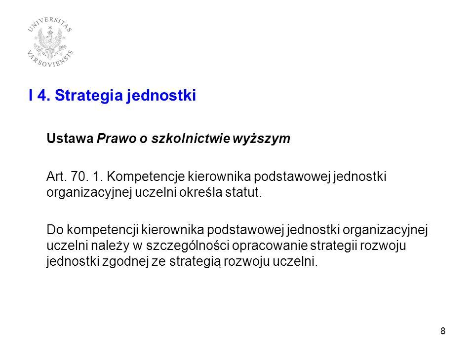 I 4. Strategia jednostki Ustawa Prawo o szkolnictwie wyższym