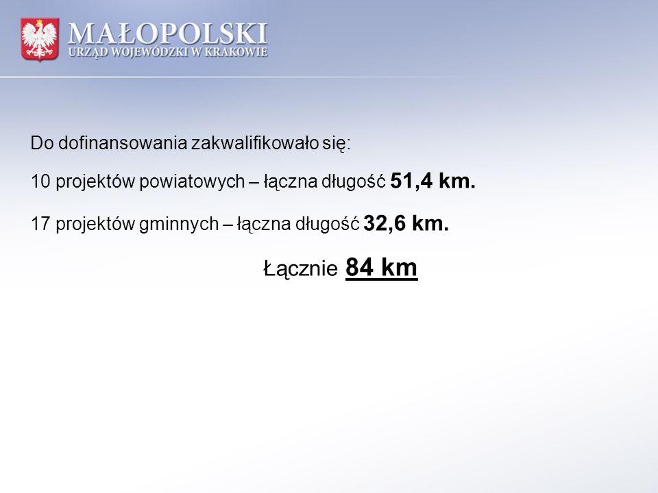Łącznie 84 km Do dofinansowania zakwalifikowało się: