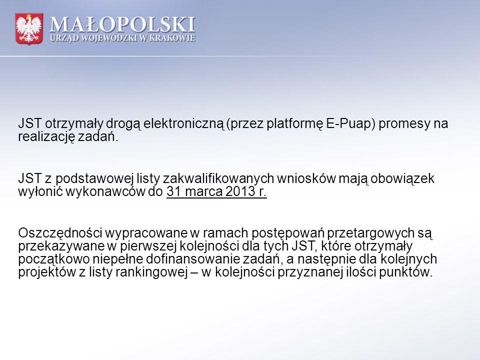 JST otrzymały drogą elektroniczną (przez platformę E-Puap) promesy na realizację zadań.