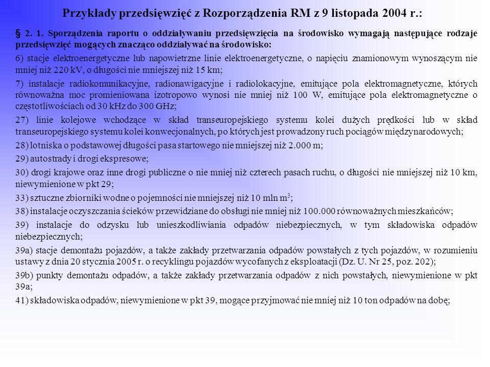 Przykłady przedsięwzięć z Rozporządzenia RM z 9 listopada 2004 r.: