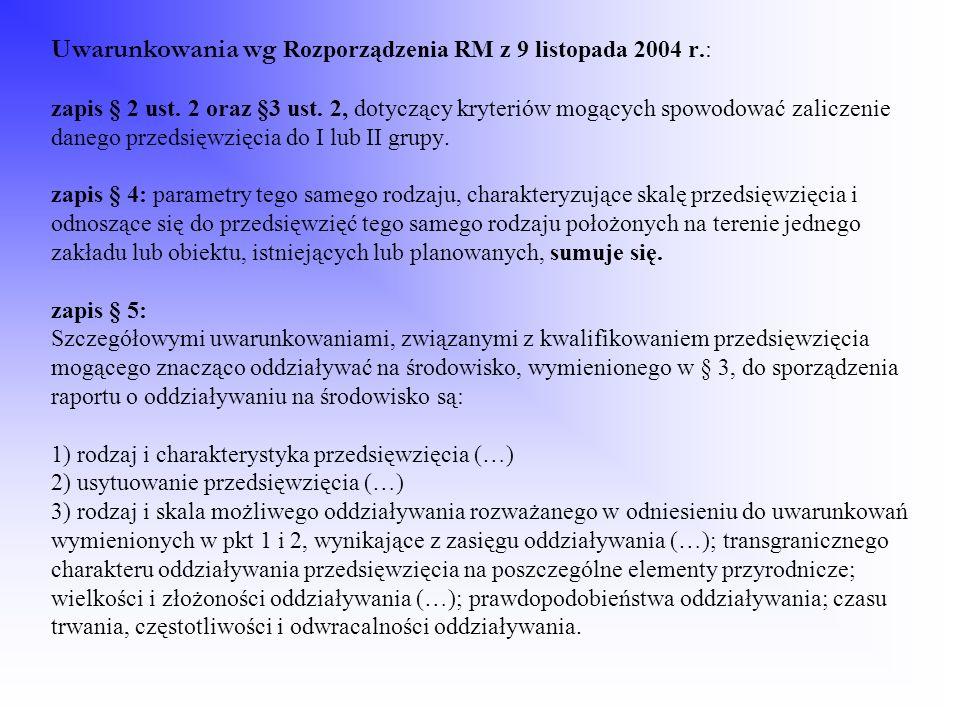 Uwarunkowania wg Rozporządzenia RM z 9 listopada 2004 r
